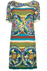 Dolce & Gabbana Mixed Print Shift Dress - Lyst