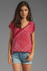 Ella Moss Tuscana Short Sleeve Silk Top in Red - Lyst