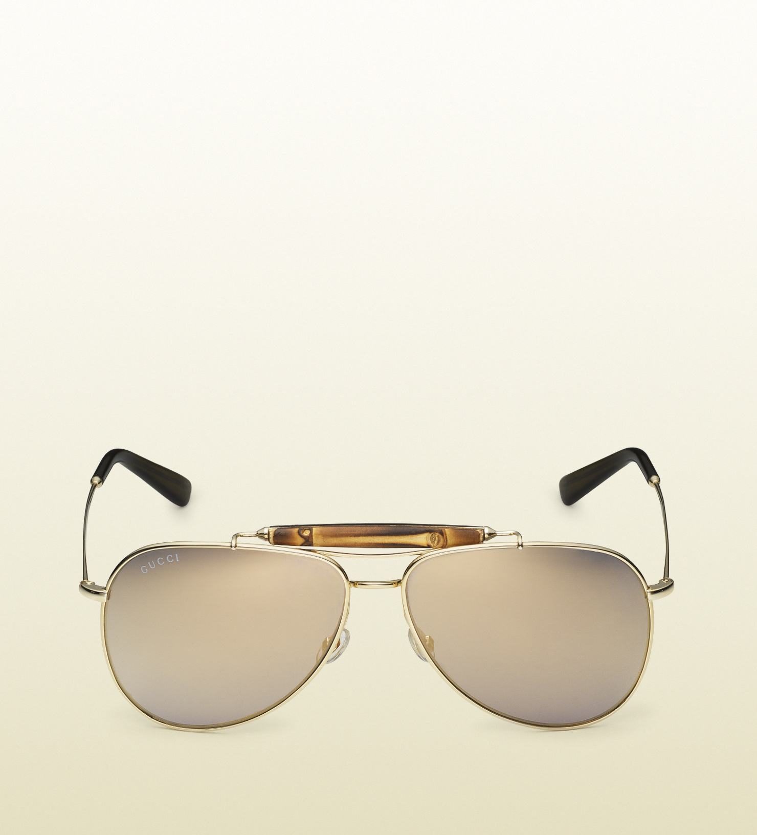 6279ba0c9e04a Gucci Aviator Sunglasses With Bamboo Detail in Natural - Lyst