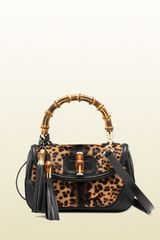 Gucci New Bamboo Jaguar Print Top Handle Bag - Lyst