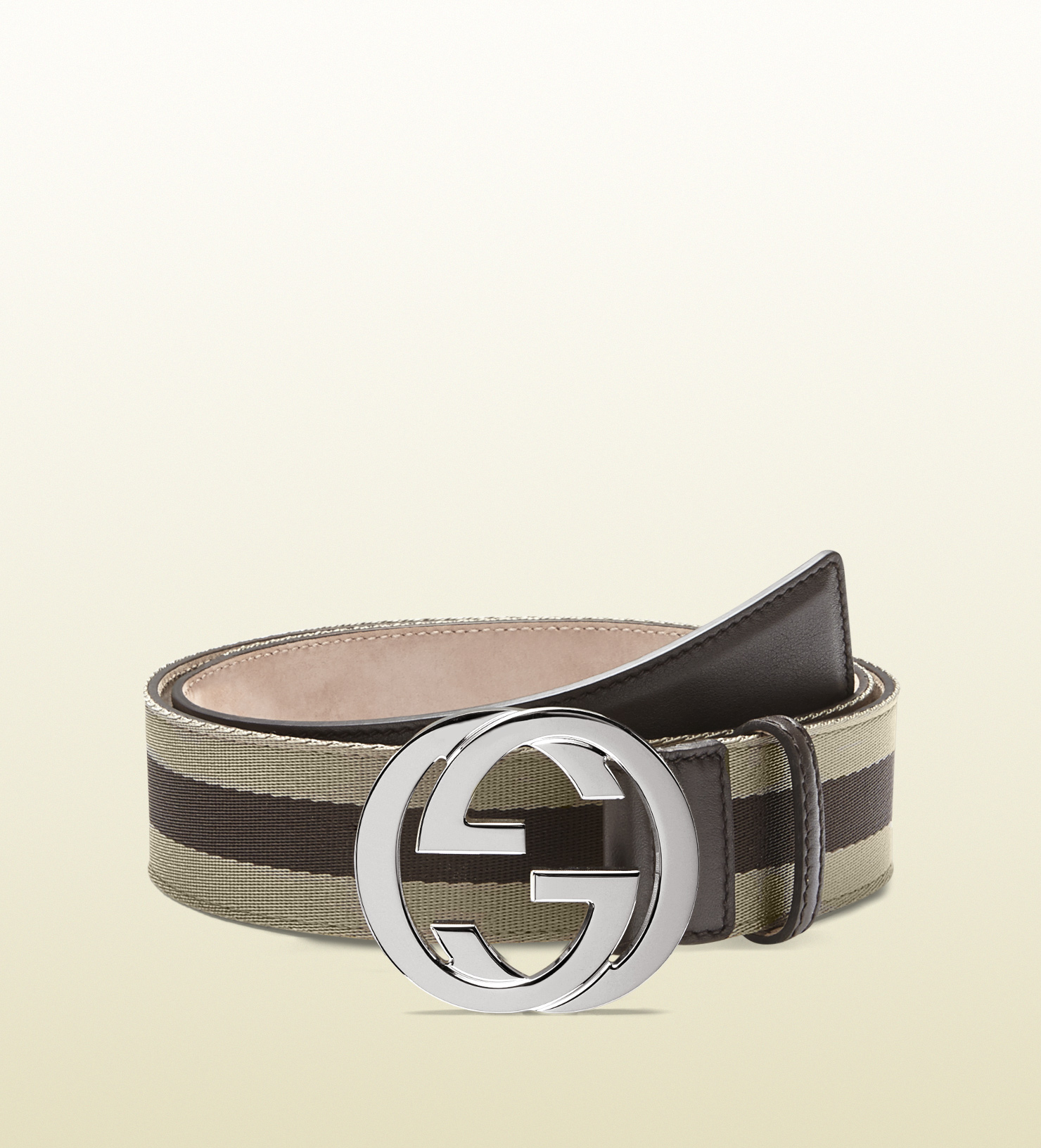 13543721e14 Gucci Nylon Web Belt with Interlocking G Buckle in Natural for Men ...
