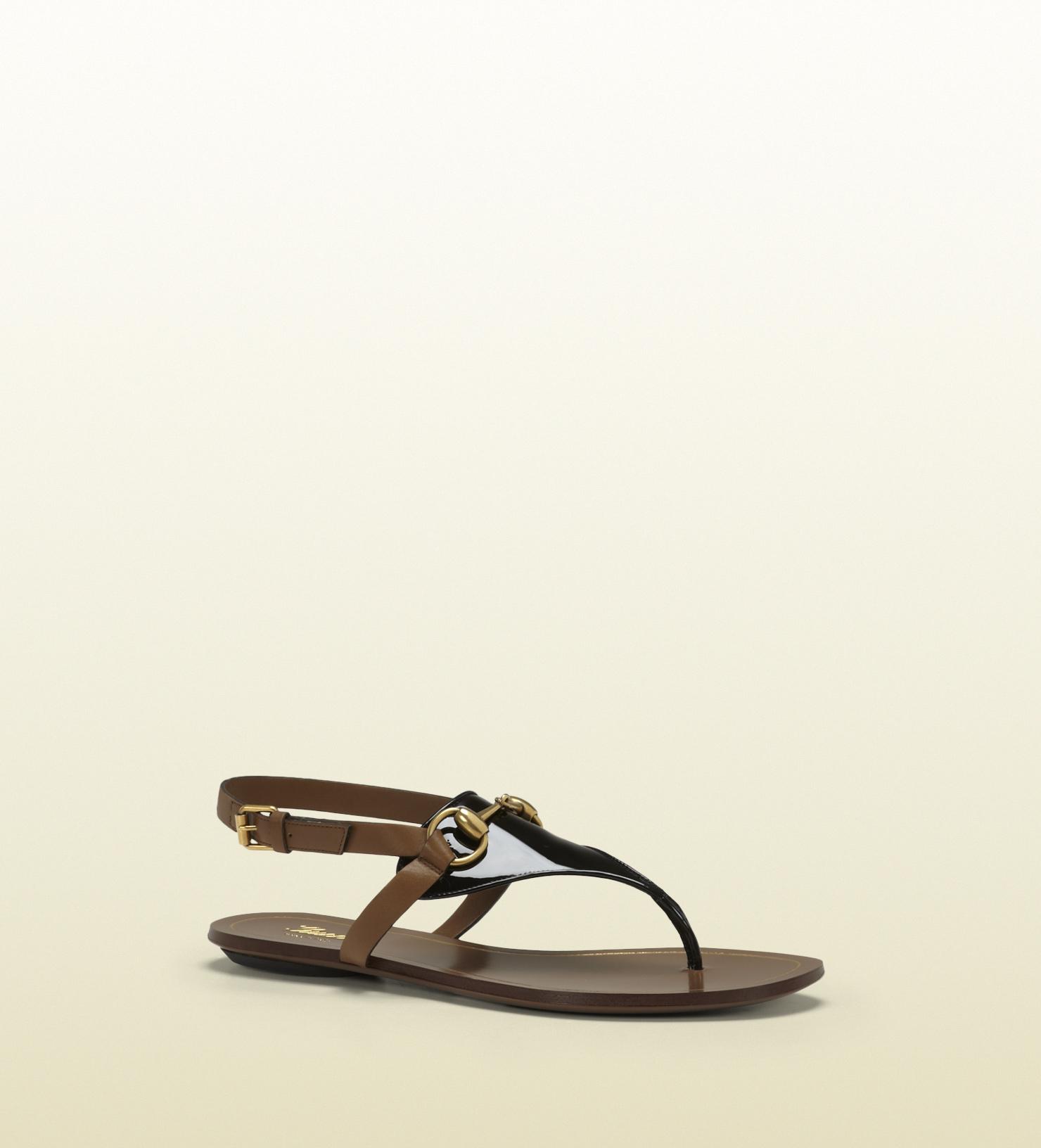 7af478a86946 Lyst - Gucci Alyssa Black Patent Leather Thong Sandal in Black for Men