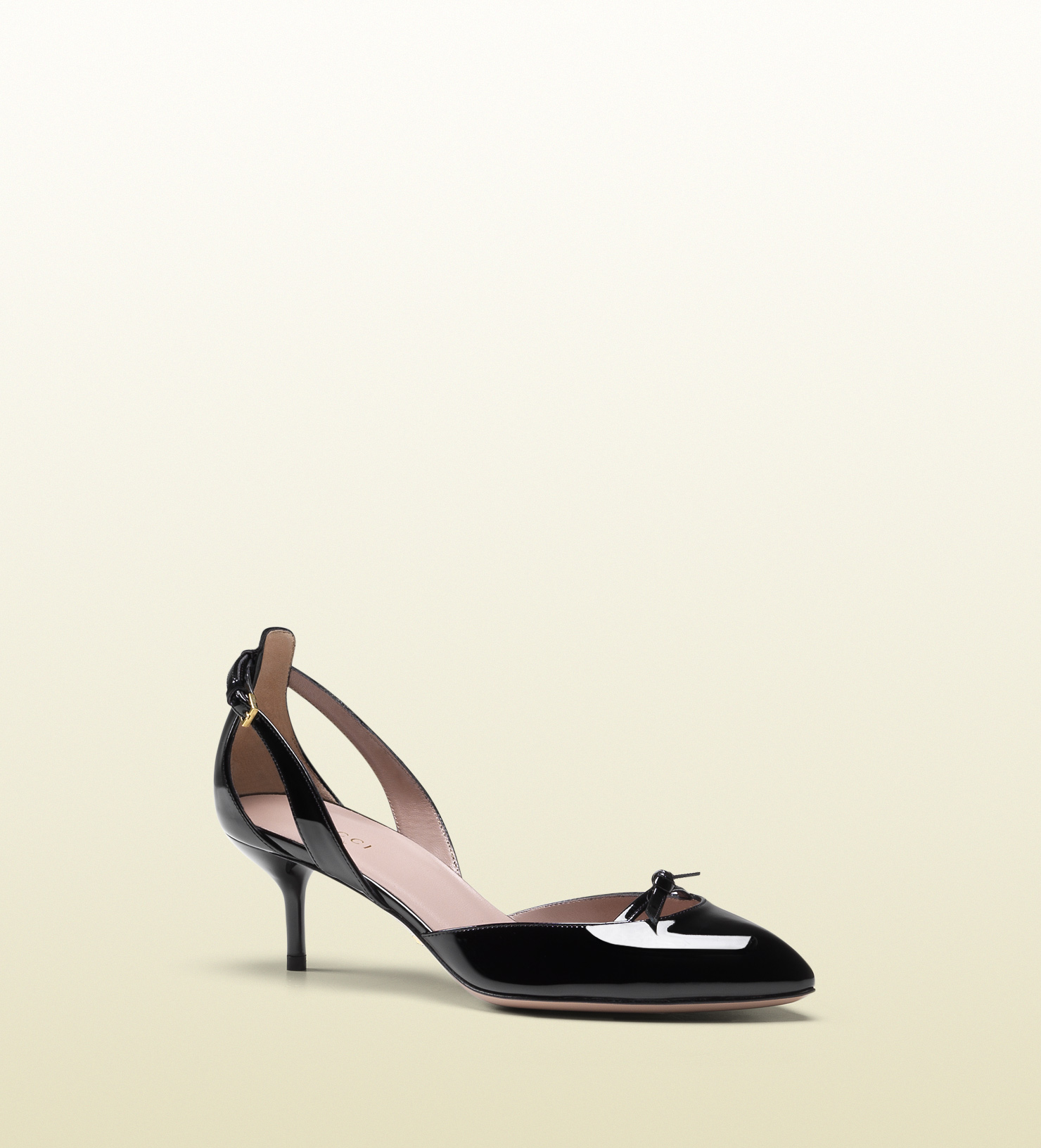 Gucci Black Patent Leather Mid-heel Pump In Black