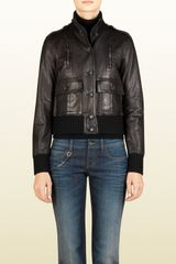 Gucci Black Biocalf Leather Bomber Jacket - Lyst