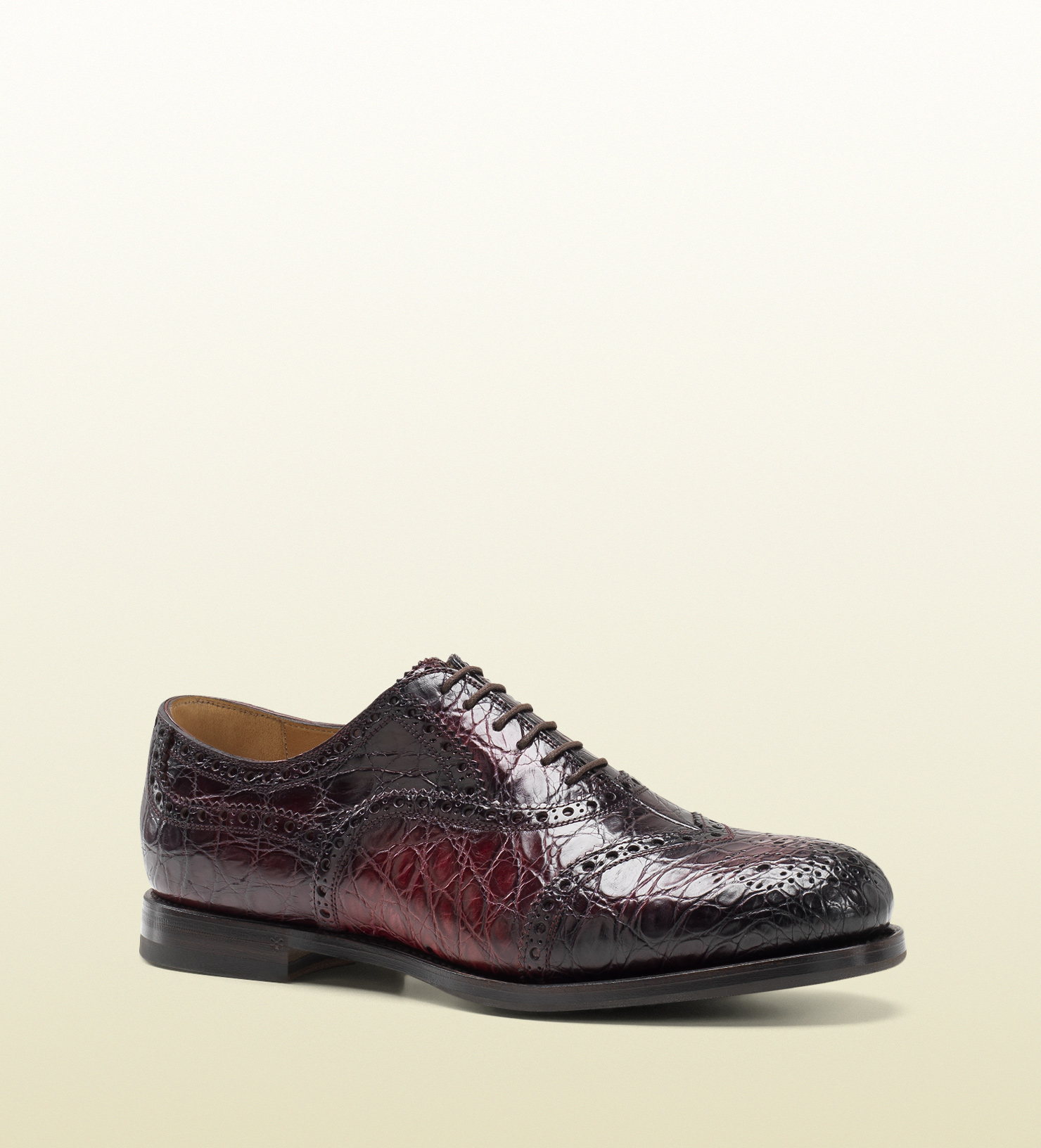 Lyst Gucci Bordeaux Brogue Crocodile Lace Up Shoe In