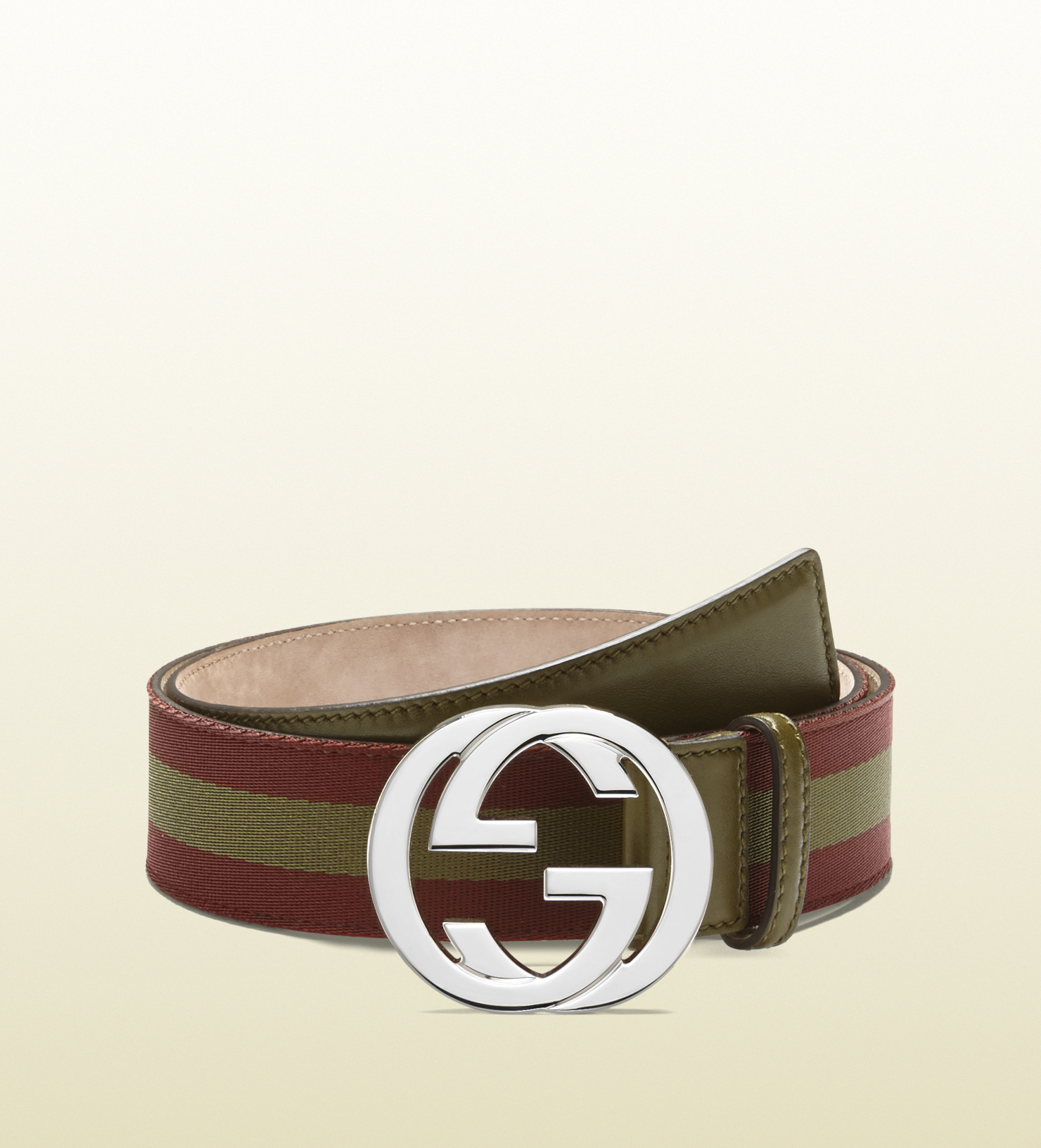 39e70c58b Gucci Nylon Web Belt with Interlocking G Buckle in Brown for Men - Lyst