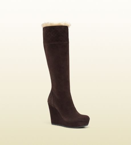gucci courteney suede wedge boot with shearling trim in