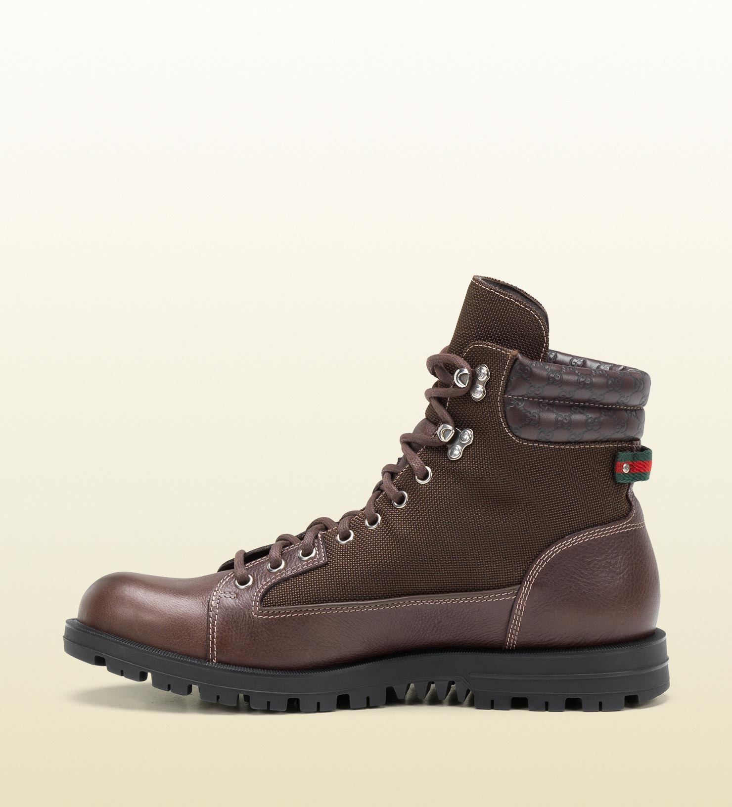 gucci trek boot with signature web detail in brown for
