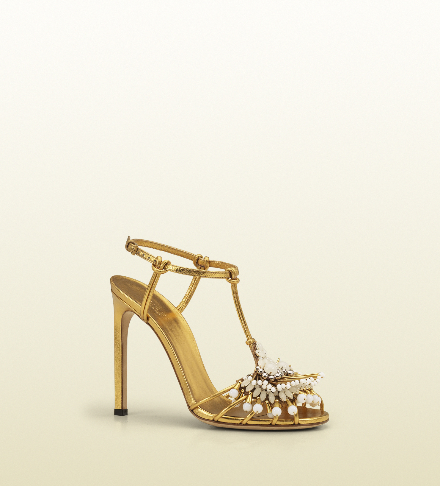 Gucci Phoebe High Heel Sandal with Jeweled Embroidery in Metallic ...