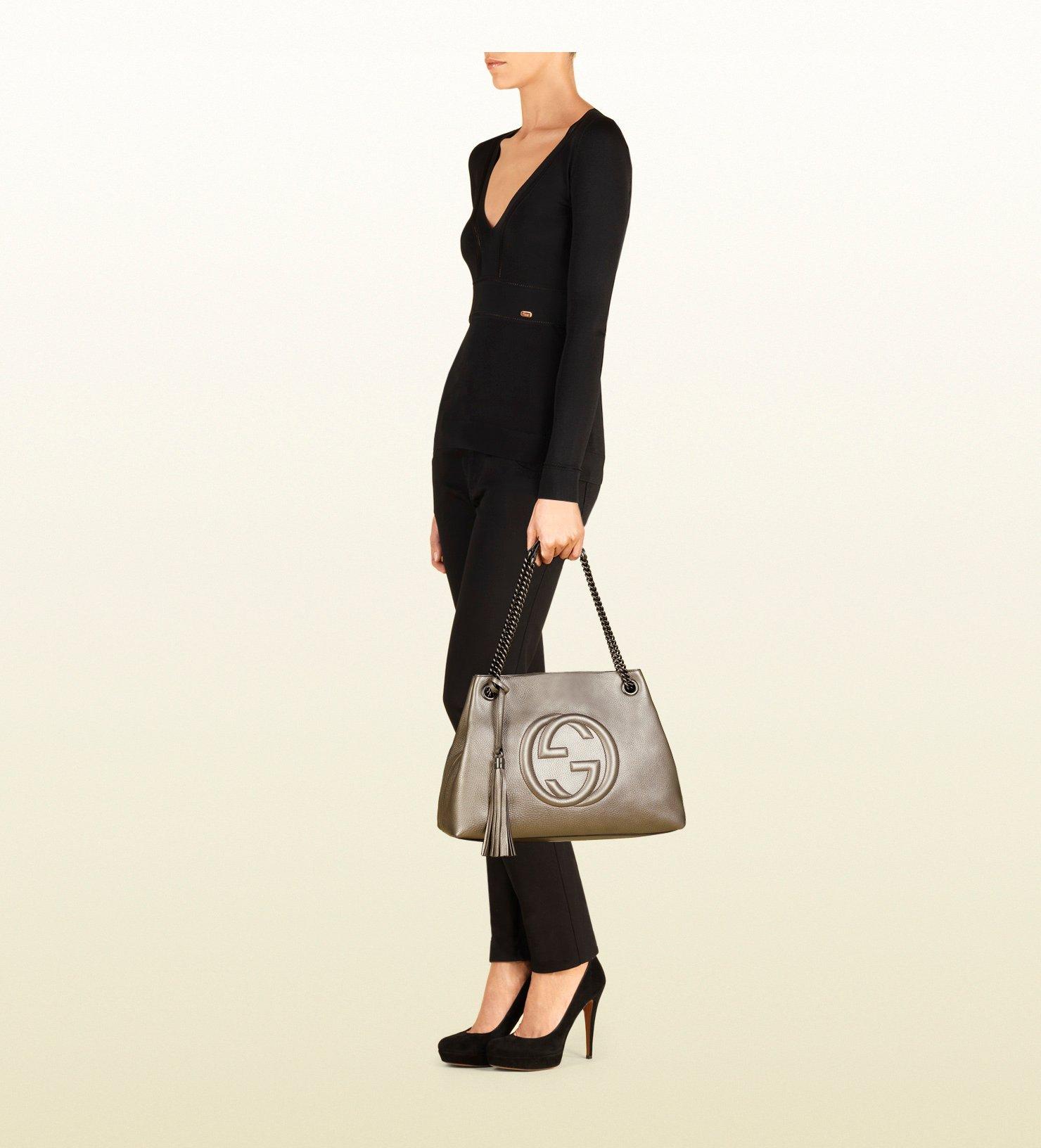 1632b0983 Gucci Soho Metallic Leather Shoulder Bag in Gray - Lyst