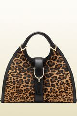 Gucci Stirrup Jaguar Print Top Handle Bag - Lyst