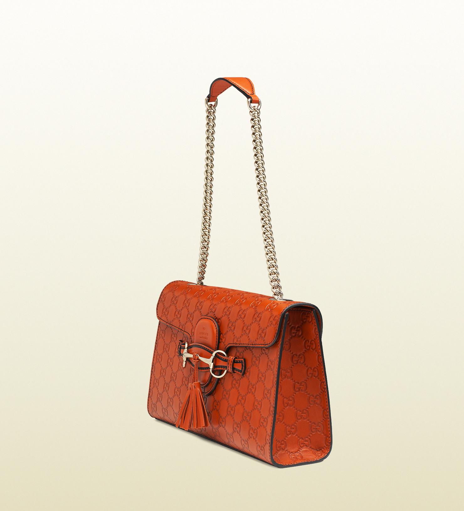 2ce3391b739 Gucci Emily Guccissima Chain Shoulder Bag in Orange - Lyst