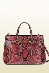 Gucci Bright Bit Shocking Pink Python Top Handle Tote - Lyst