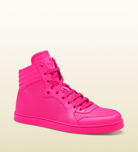 Gucci Neon Pink Leather Hightop Sneakers in Pink for Men ...