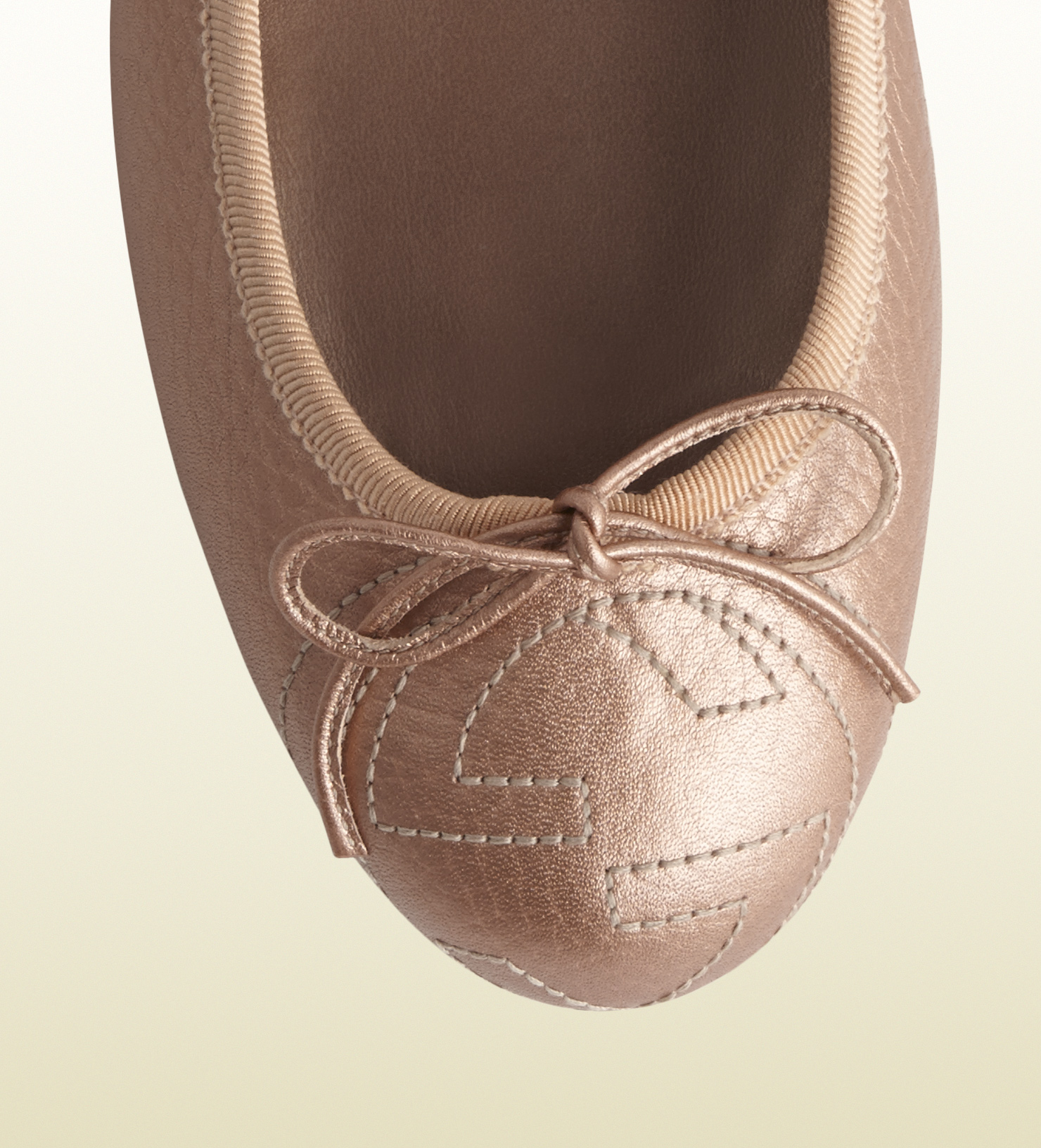 Gucci Soho Rose Beige Metallic Leather Ballet Flat in Pink ...