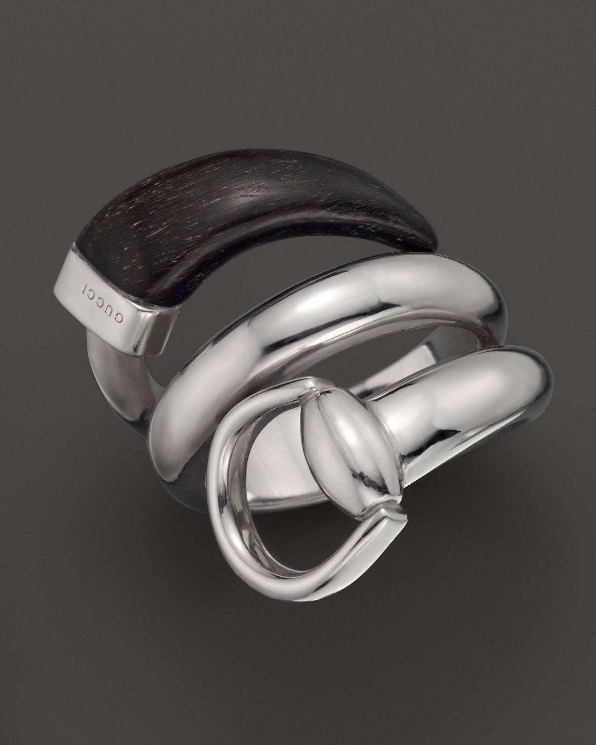 gucci black horn sterling silver horsebit contraire ring