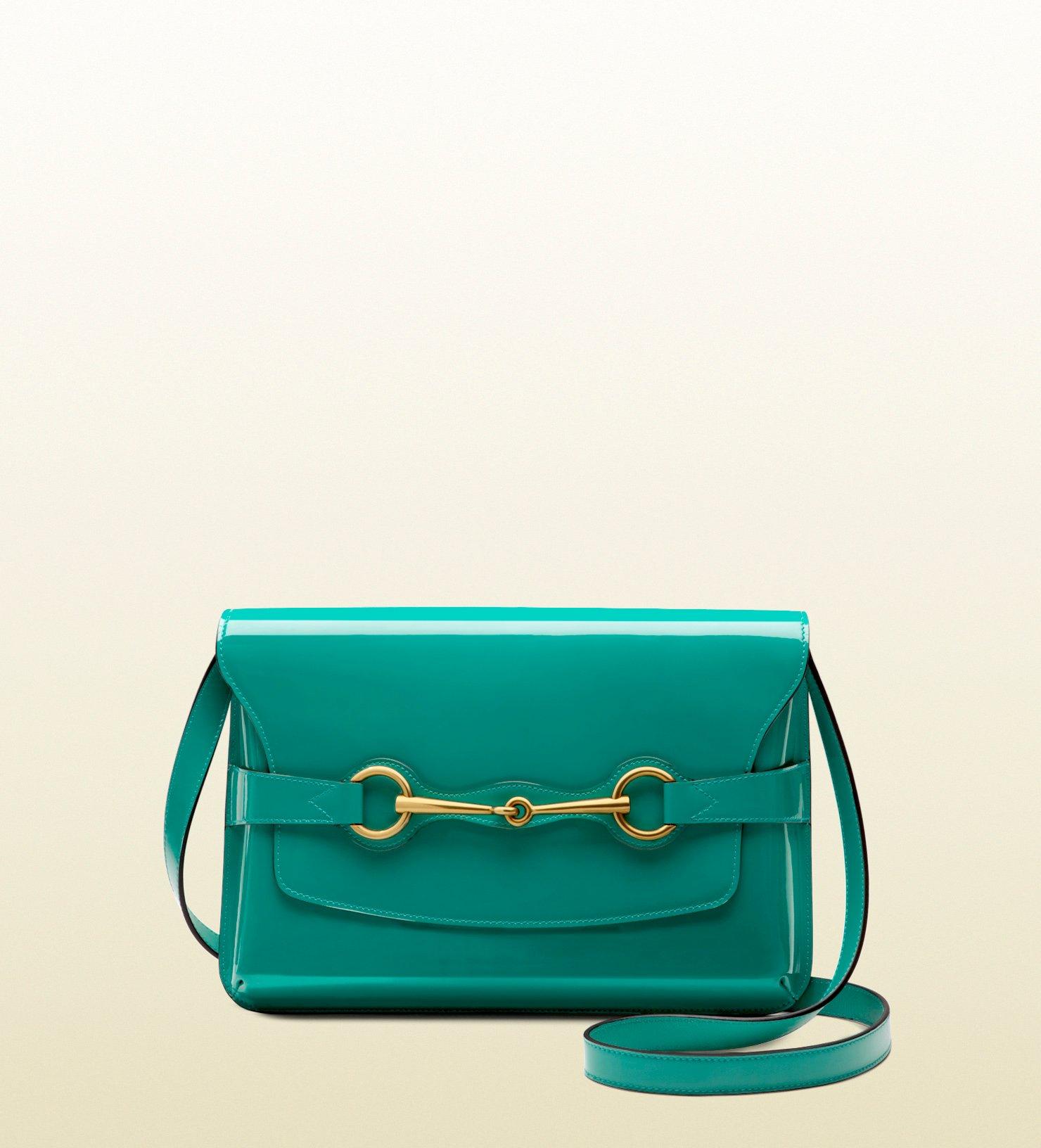 eaf6b8f7336 Lyst - Gucci Bright Bit Patent Leather Shoulder Bag in Green