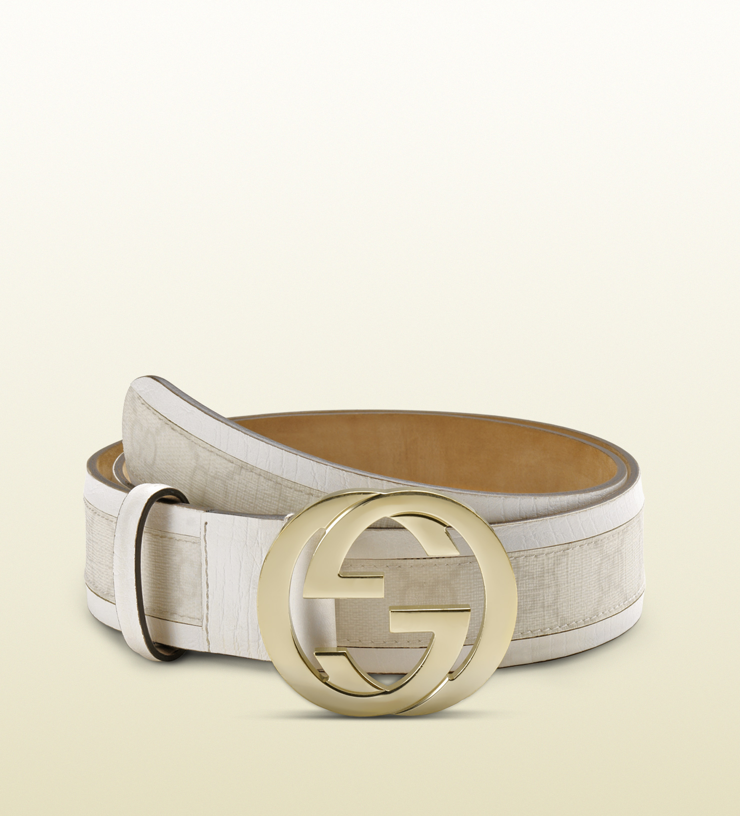 Gucci Gg Plus Belt With Interlocking G Buckle in White | Lyst