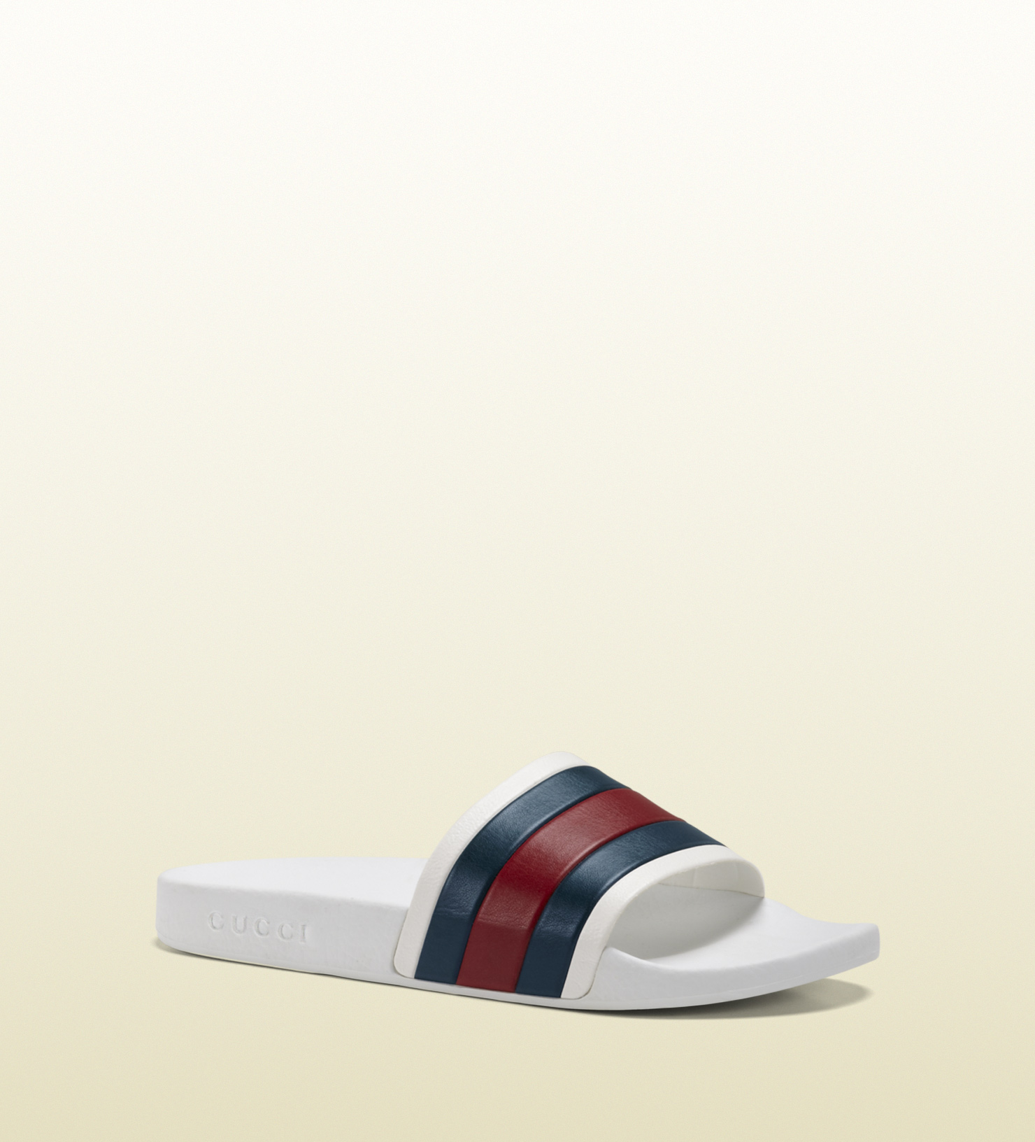 c8819f313aee Gucci White Rubber Slide Sandal in White for Men - Lyst