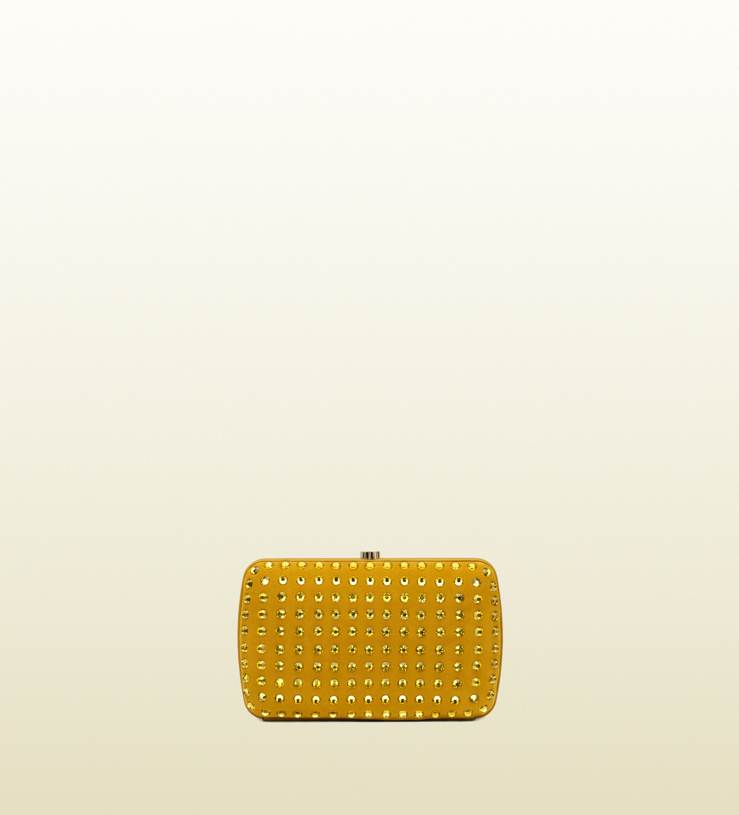 3045d708abeb1b Lyst - Gucci Broadway Suede Evening Clutch with Crystal Studs in Yellow