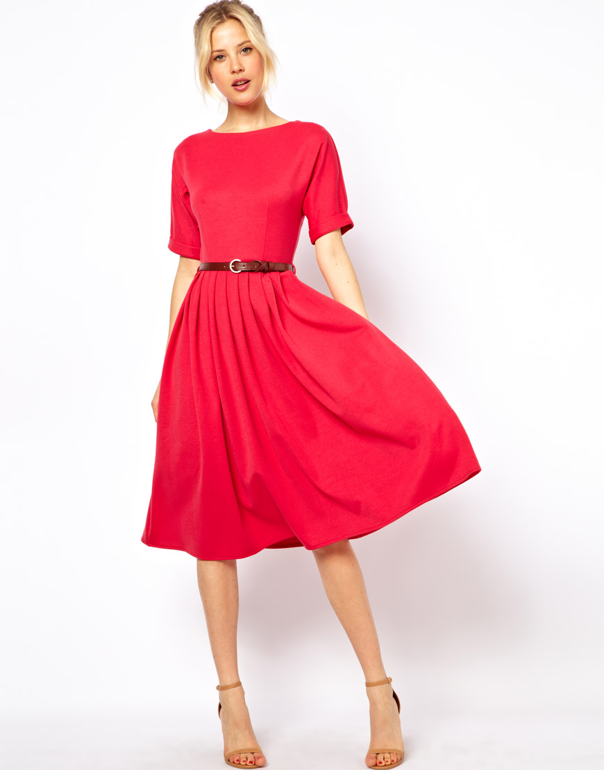 lyst asos midi dress with full skirt and belt in pink. Black Bedroom Furniture Sets. Home Design Ideas