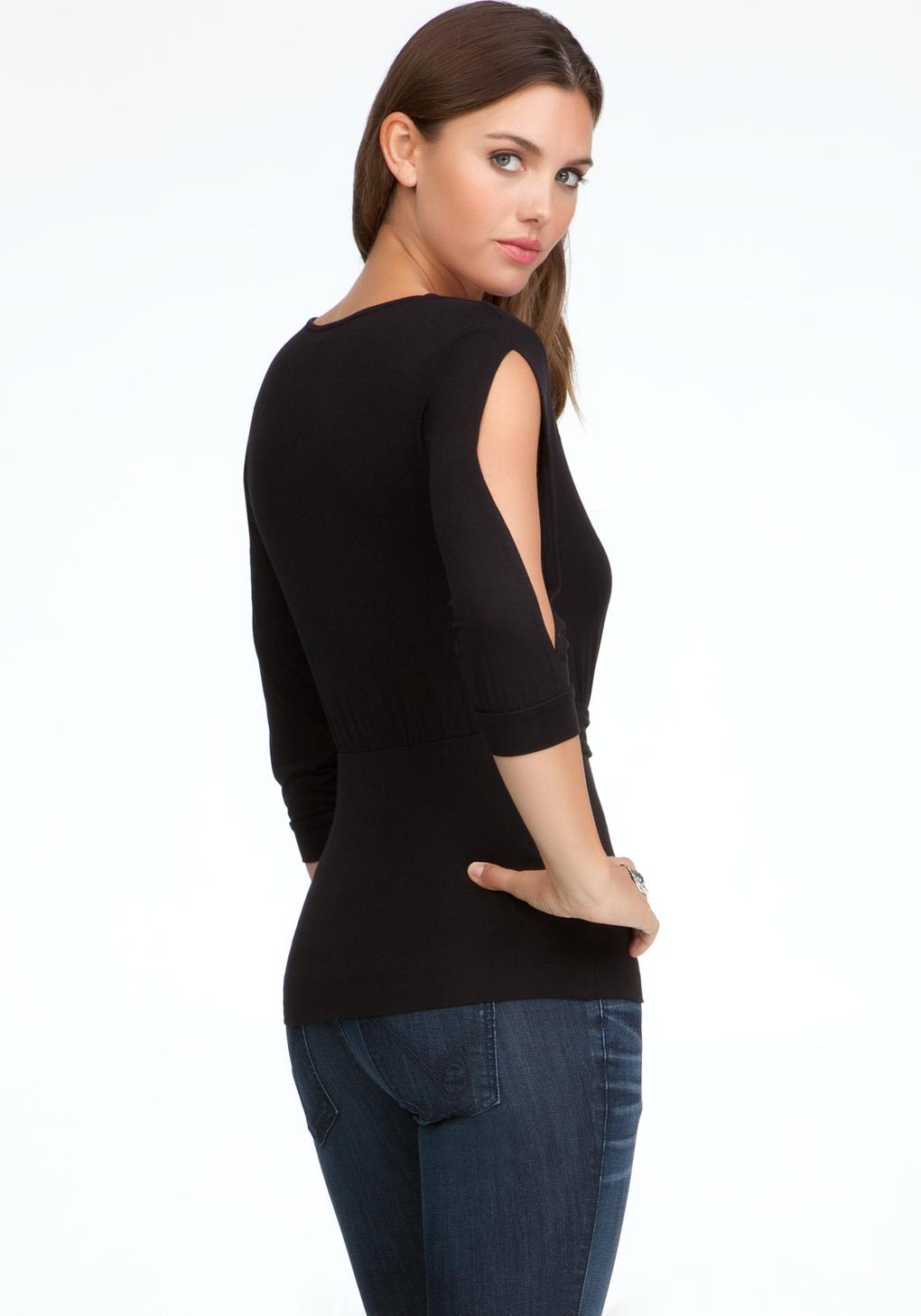 Bebe Slit Sleeve Tie Front Knit Top in Black | Lyst