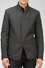 Bottega Veneta Anthracite Nero Multi-grid Wool Down Jacket - Lyst