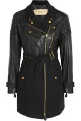 Burberry Brit Leather and Woolblend Felt Coat - Lyst
