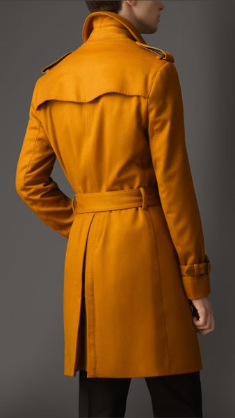 Burberry Midlength Cashmere Trench Coat In Orange For Men