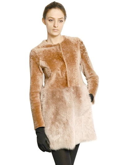 Drome Fur and Shaved Shearling Coat in Brown | Lyst