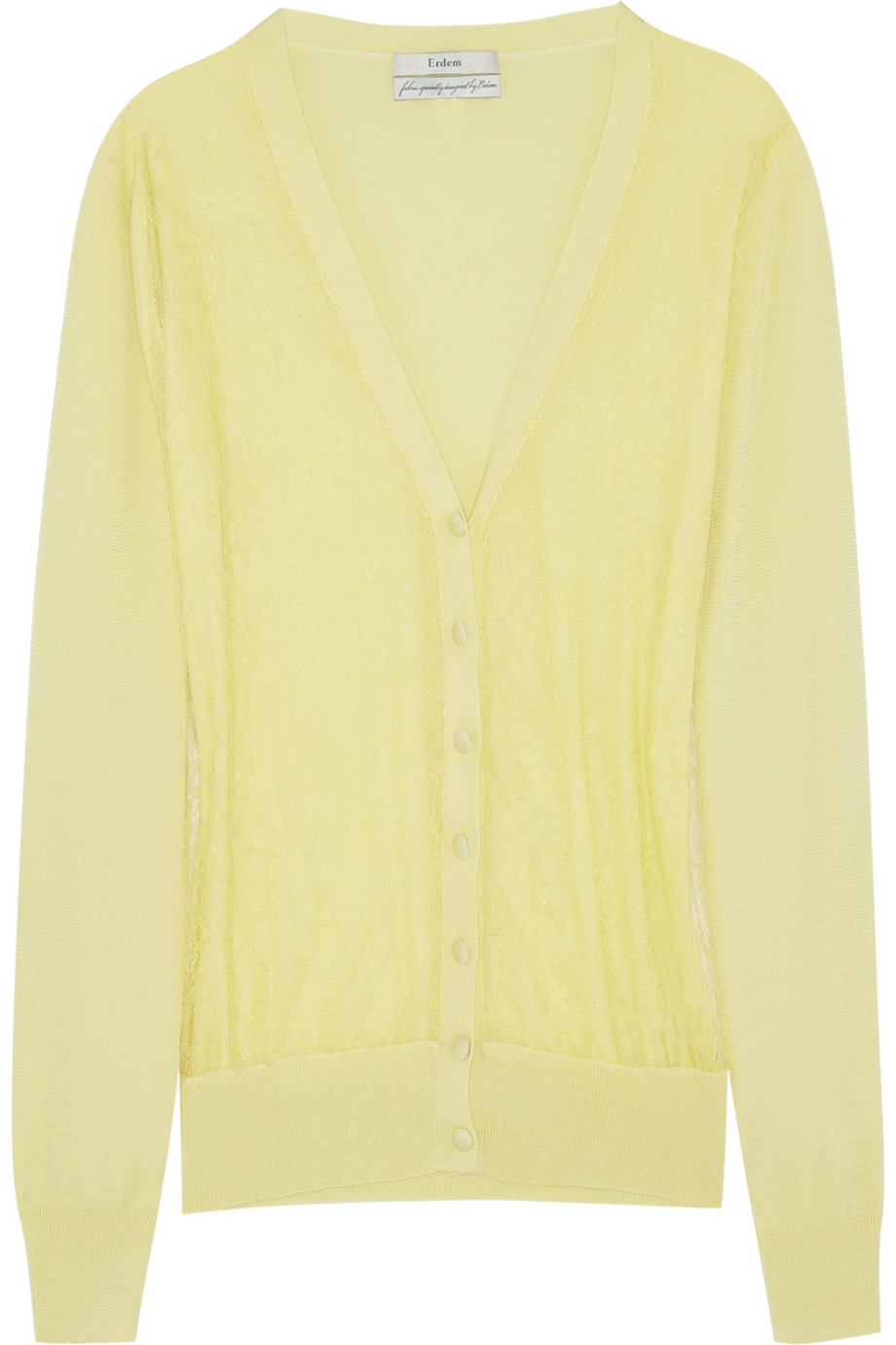 Erdem Emerson Silkblend and Lace Cardigan in Yellow   Lyst