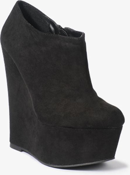 forever 21 platform wedge booties in black lyst
