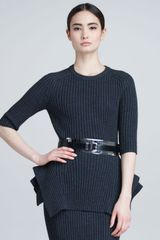 Michael Kors Ribbed Peplum Sweater - Lyst
