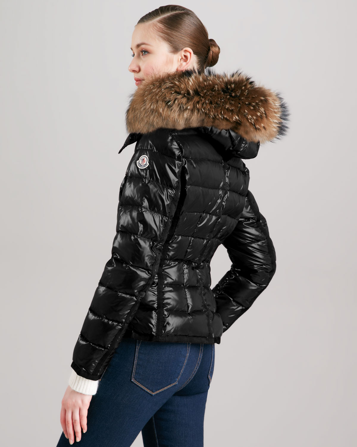 lyst moncler short puffer jacket with furtrimmed hood in black rh lyst com