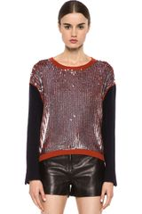 3.1 Phillip Lim Wool Suiting Pullover in Orange metallics - Lyst