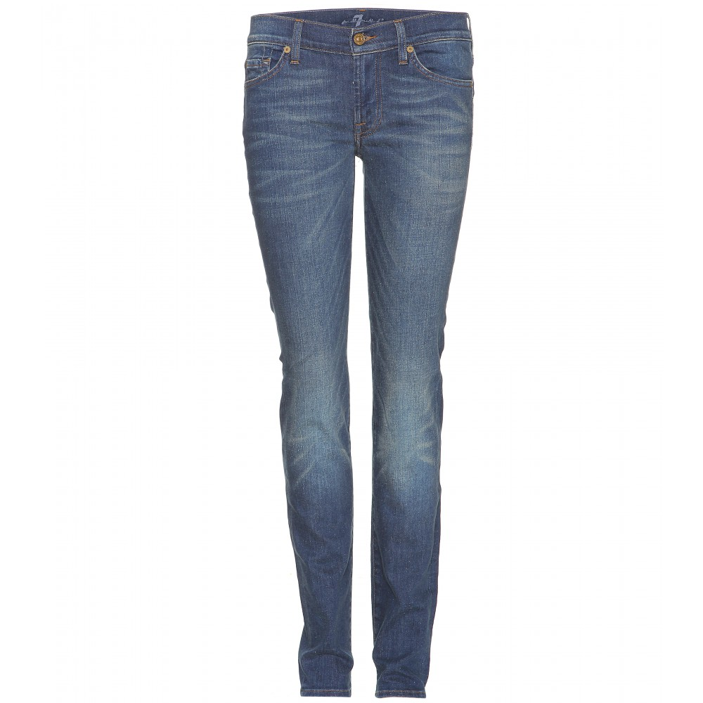 7 for all mankind roxanne skinny jeans in blue lyst. Black Bedroom Furniture Sets. Home Design Ideas