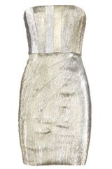 Alice + Olivia Bown Metallic Dress with Pleats - Lyst