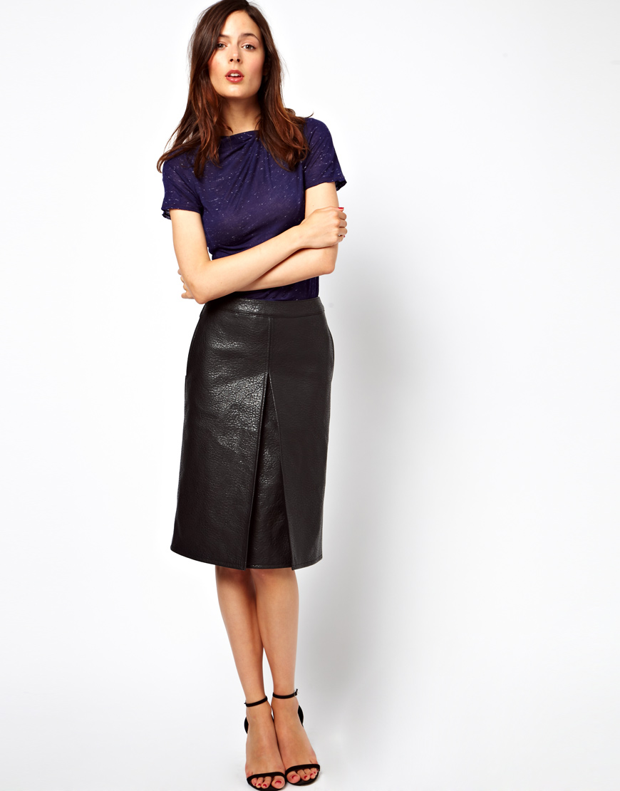 Asos A-Line Skirt in Leather Look in Black | Lyst