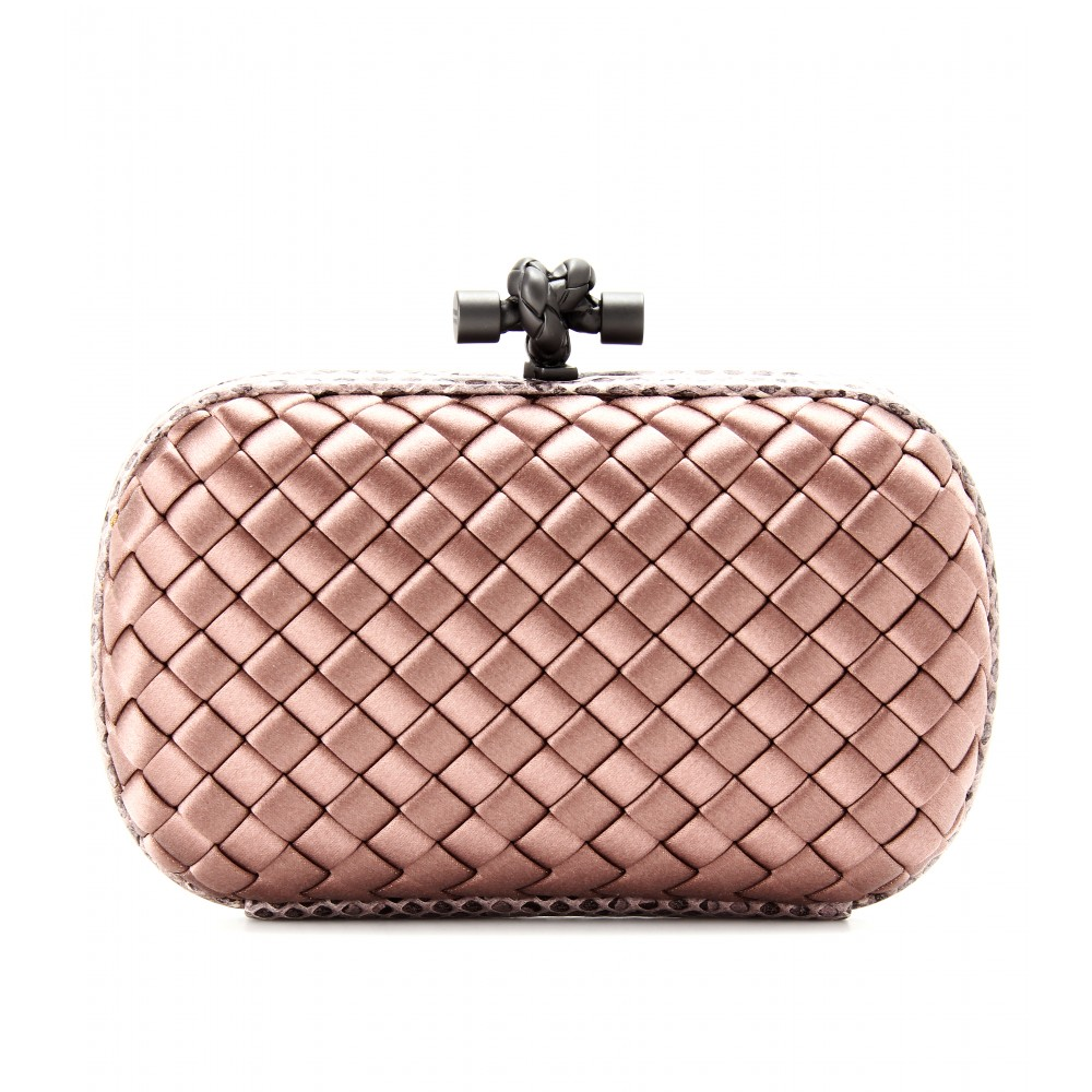 4885c585d6c Lyst - Bottega Veneta Knot Satin Box Clutch with Snakeskin in Pink