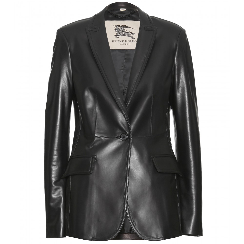 Burberry Leather Blazer in Black