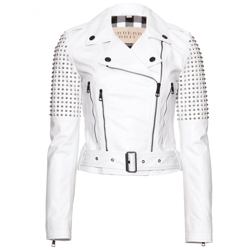 Burberry brit Studded Leather Biker Jacket in White | Lyst