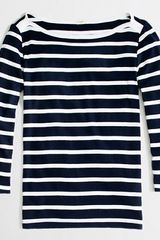 J.Crew Factory Three quarter Sleeve Boatneck Tee in Stripe - Lyst