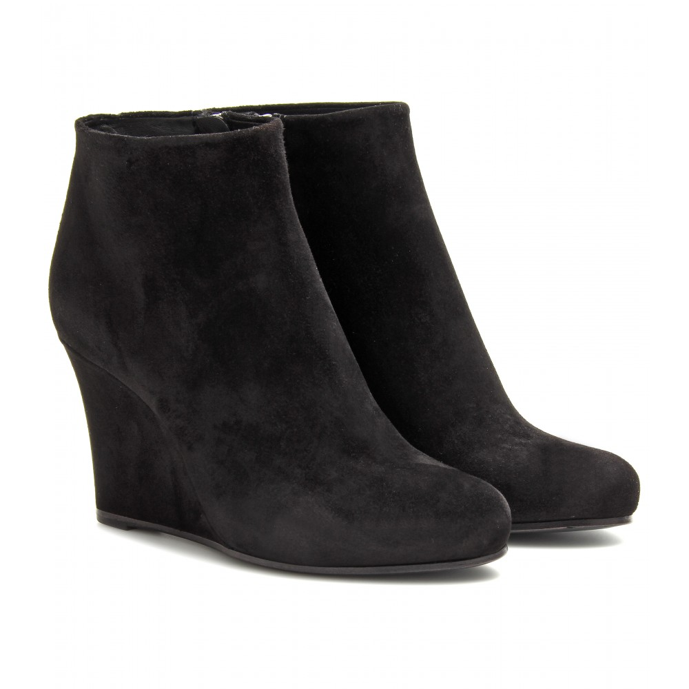 Lyst Jil Sander Suede Wedge Ankle Boots In Black