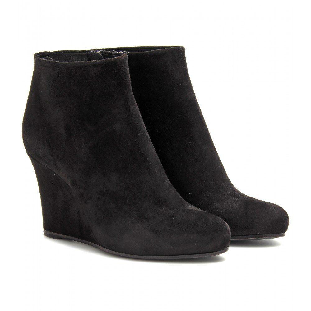 Jil sander Suede Wedge Ankle Boots in Black | Lyst