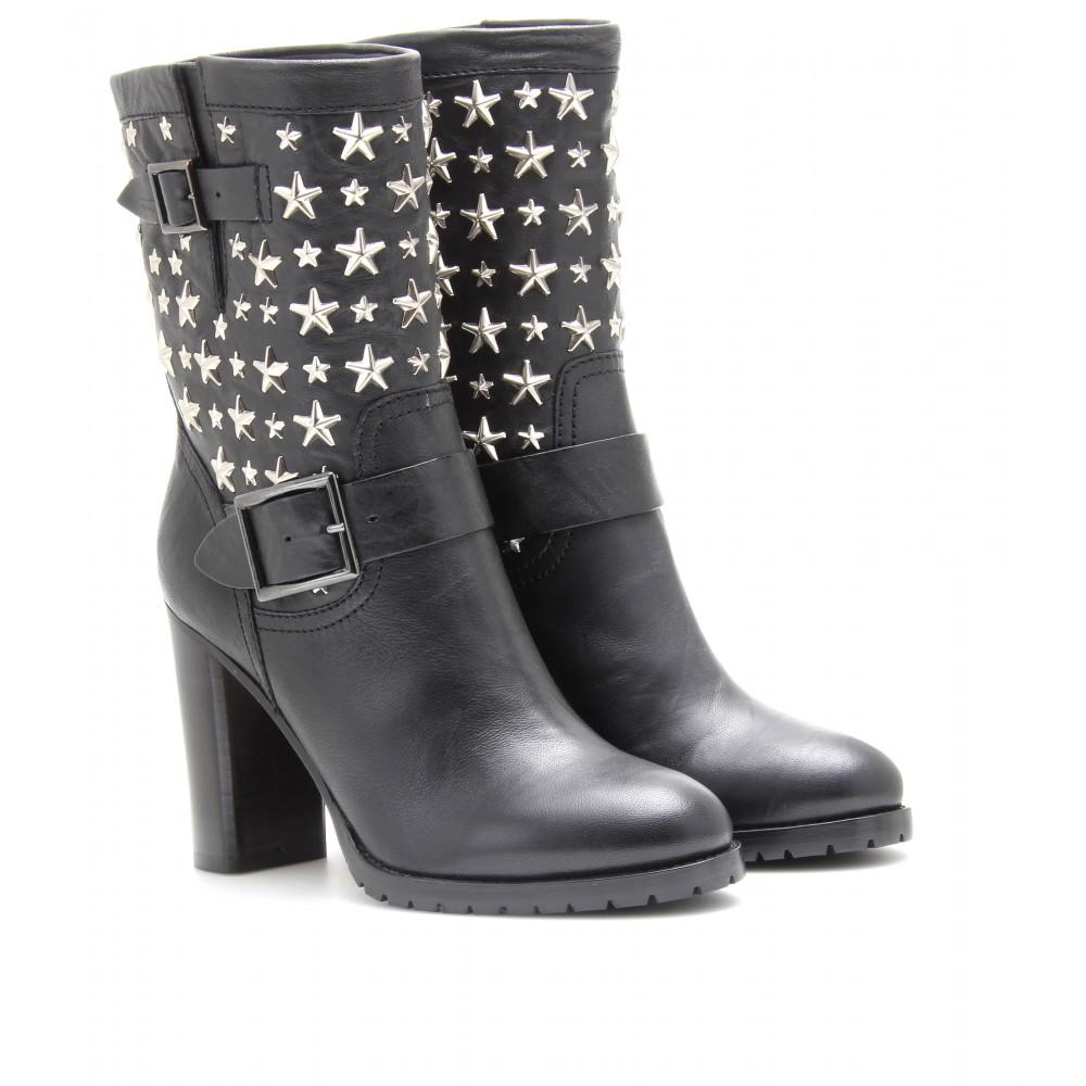 lyst jimmy choo dart leather biker boots with stars in black rh lyst com