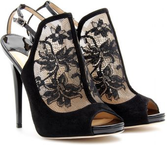 Jimmy Choo Maylen Lace and Suede Stiletto Pumps - Lyst
