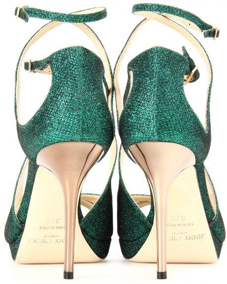 Jimmy Choo Misty Glitter Sandals In Green Emerald Lyst