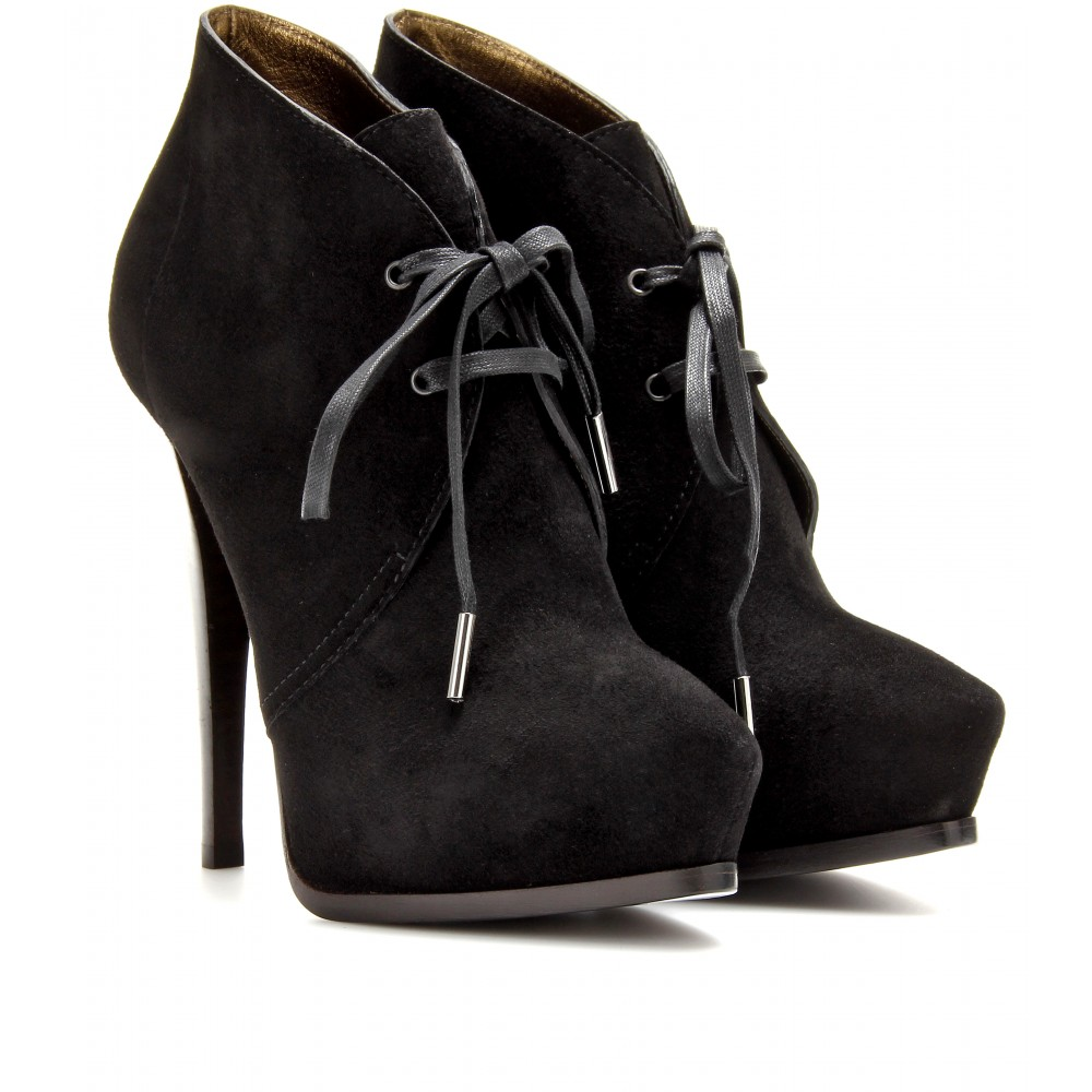 lanvin clarks suede ankle boots in black lyst