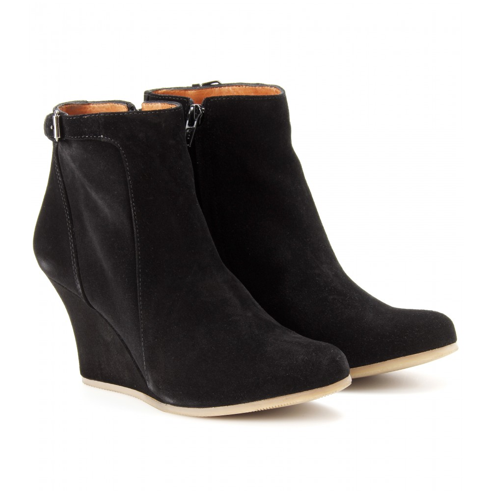 Lanvin Suede Wedge Ankle Boots in Black | Lyst