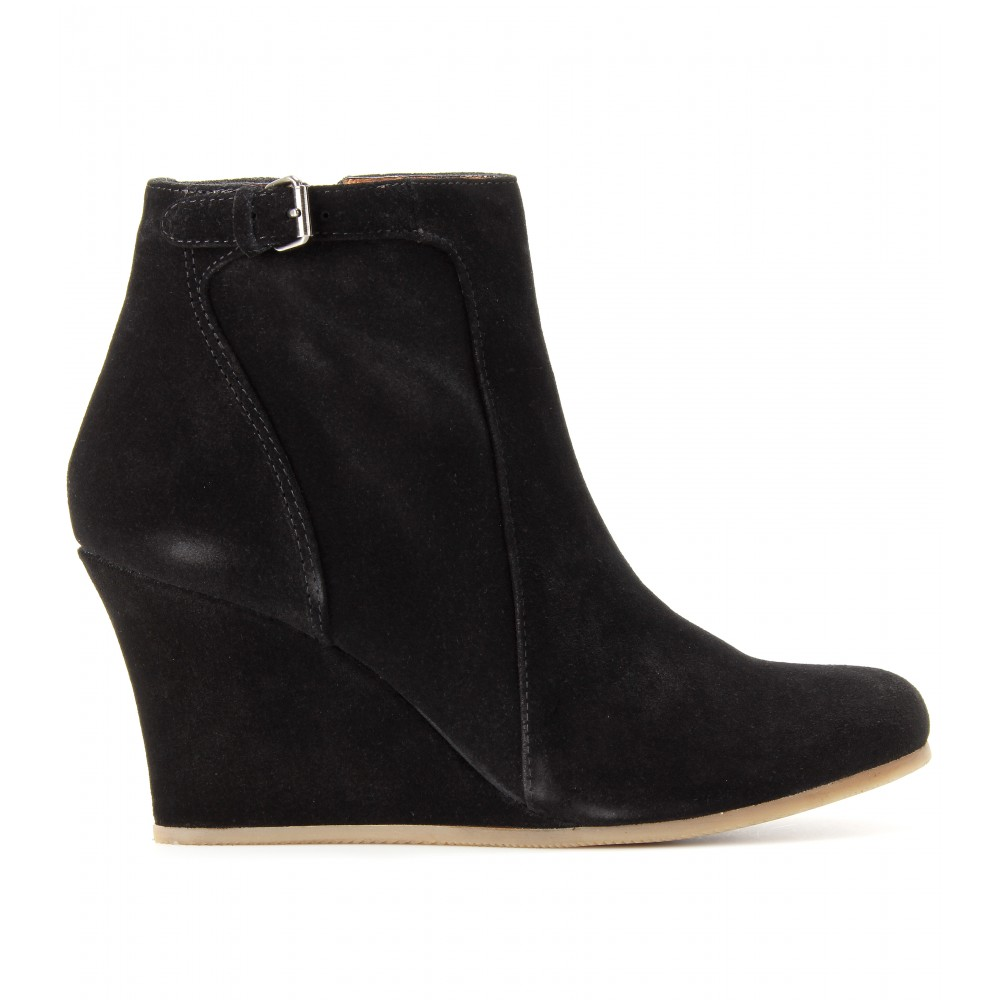 lanvin suede wedge ankle boots in black lyst